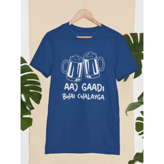 Round Neck - Aaj Gadi Bhai Chalaiga - Navy Blue